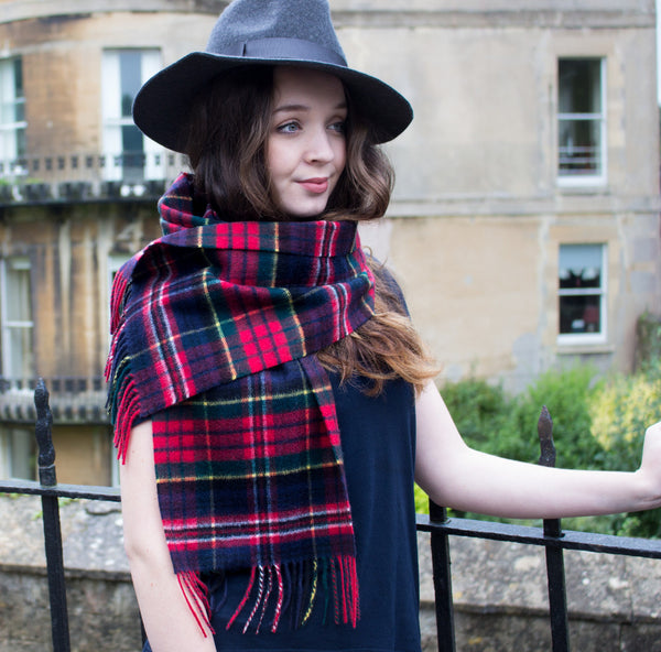Scottish cashmere ladies scarf navy and red check