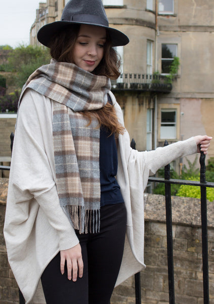 BRITISH CASHMERE SCARF - PALE CREAM CHECK