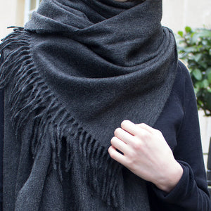 cashmere shawl - grey - PIC WOMEN