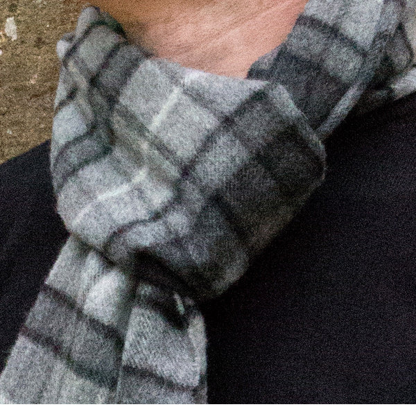 Cashmere scarf - grey check - PIC MEN