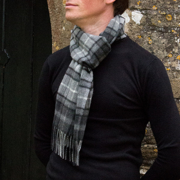 MEN'S BRITISH CASHMERE SCARF - GREY CHECK