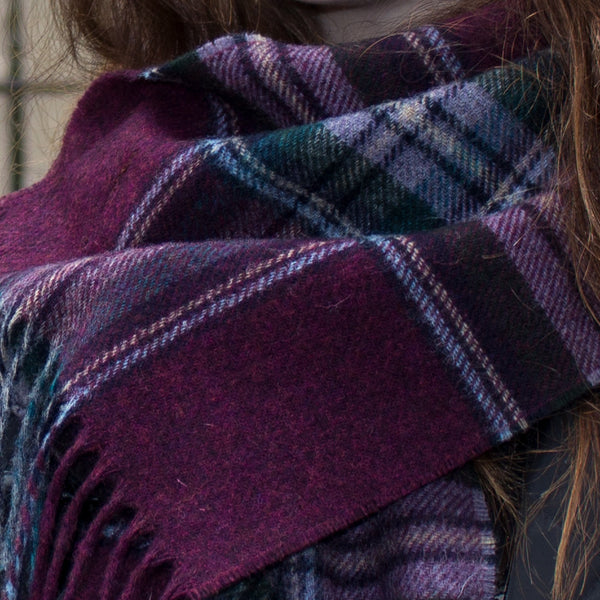DEEP BURGUNDY CHECK - ENGLISH SCARF