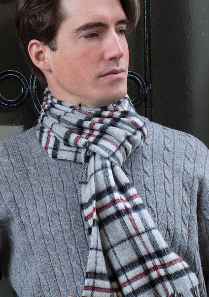 merino wool scarf - men - grey tartan