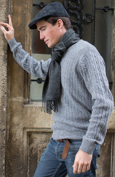 MEN'S PLAIN CHARCOAL - ENGLISH SCARF