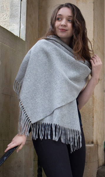 merino wool shawl - plain silver grey