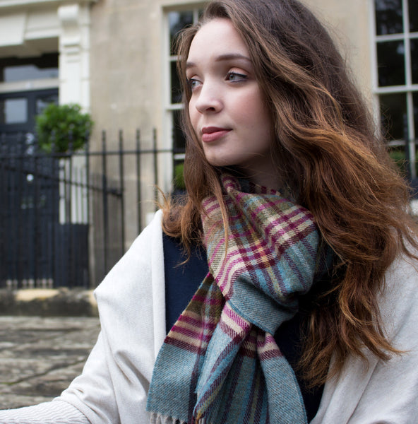 TEAL & BERRY CHECK - ENGLISH SCARF