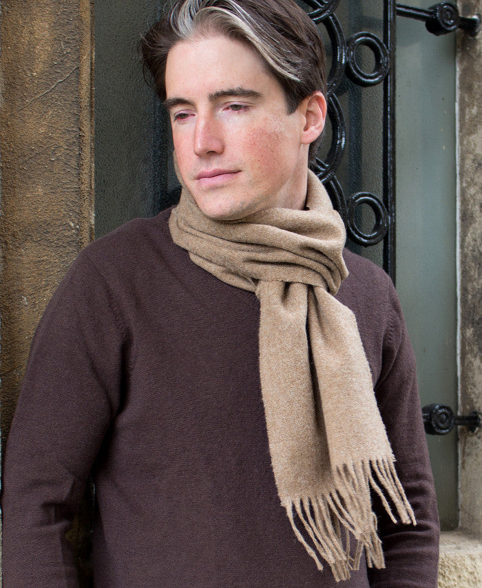 merino wool scarf - plain pale camel - men