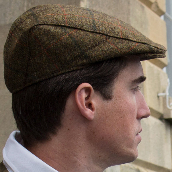 tweed cap - brown check - main