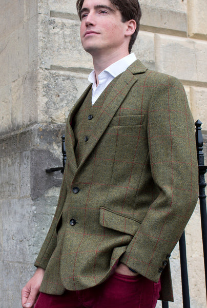 British tweed waistcoat - green - model