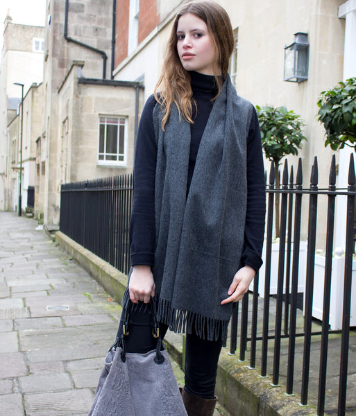 BRITISH CASHMERE SCARF - GRANITE GREY