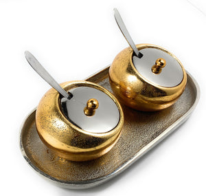 Decorative Mini Golden Condiments with Spoons & Silver Tray