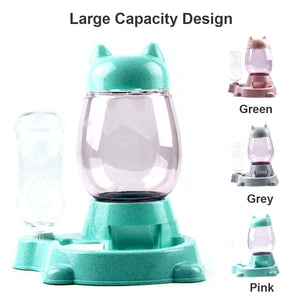 2 in 1 Kitty Shaped Automatic Pet Bowl Feeder