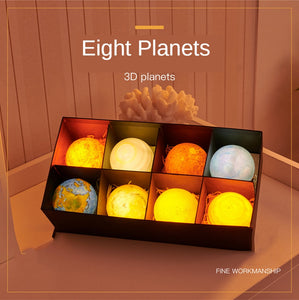 3D Print LED Planet Lamp Set (8 pieces), gift for kids, gift, for him, gift for kids, astronomy lovers