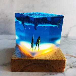 Shark Attack Diver Resin Lamp