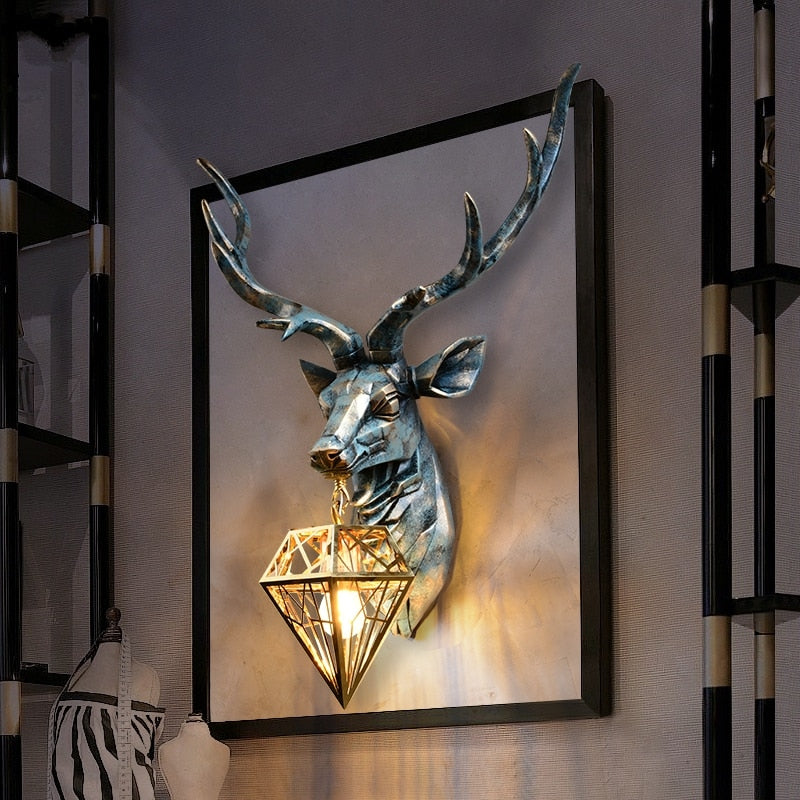 American Retro Antlers Indoor Wall Lamp, Deer Lover, Deer Hunter Gift for him