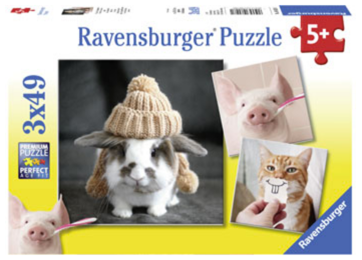 Ravensburger 3 X 49 Piece Funny Animal Portraits Puzzles