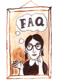 Illustration of a girl thinking about FAQs