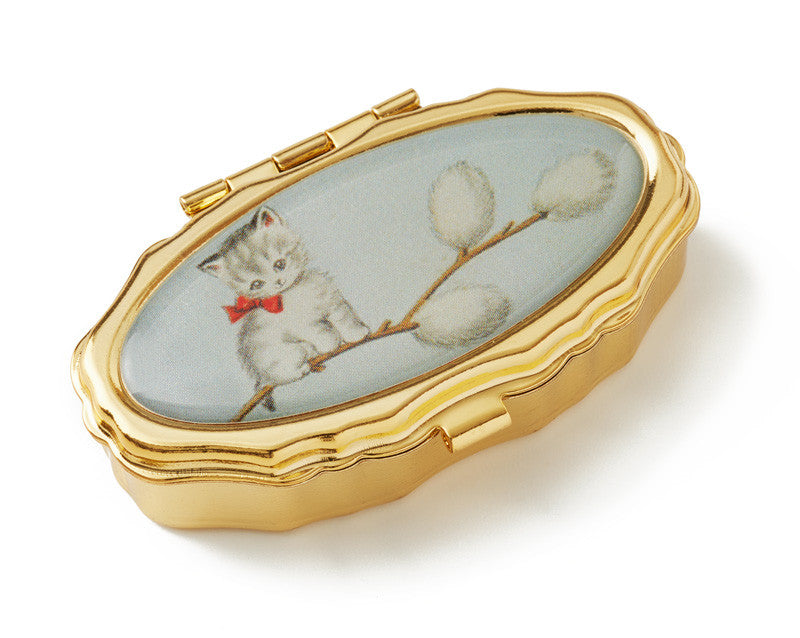 Vintage Inspired Pill Box - Kitty in pussy willow - Andrea Garland
