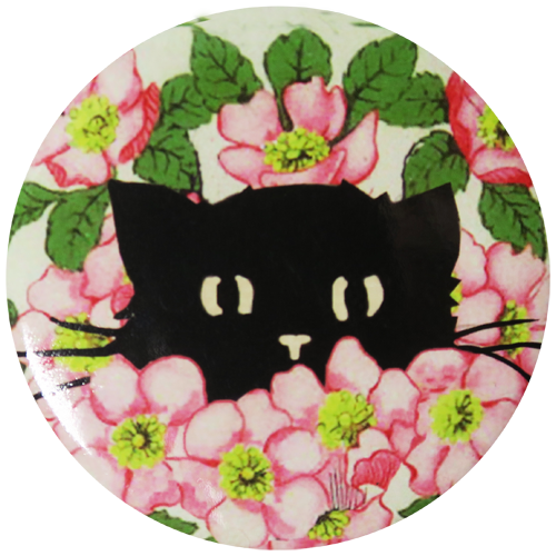 Hide and Seek Kitty in Dog Roses Pocket Mirror - Andrea Garland