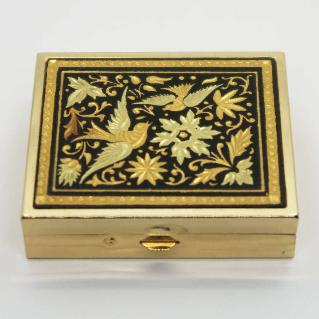 Vintage Pill Box with Lip Balm - Damascene Bird and Flowers - Andrea Garland
