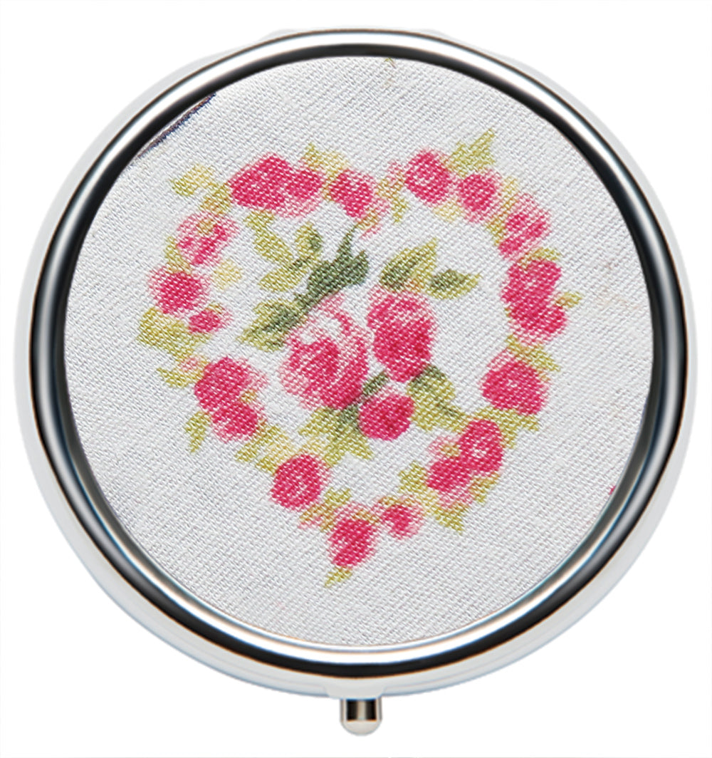 Lip Balm Ltd Edition Compact - Valentine Fabric Rose Heart - Andrea Garland