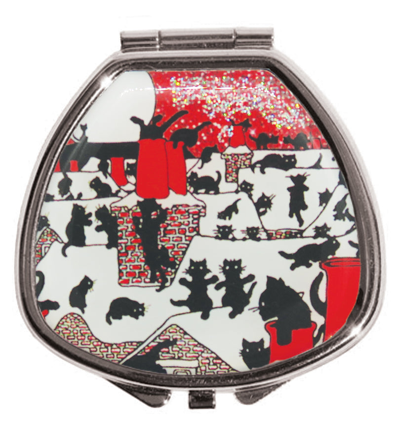 Black Cats on a Snowy Tin Roof - Lip Balm Glitter Compact - Andrea Garland