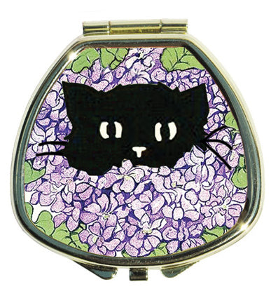 Lip Balm Compact - Hide and Seek Kitty in Hydrangeas - Andrea Garland