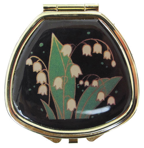 Vintage Inspired Pill Box with mirror - Lily of the Valley - Andrea Garland