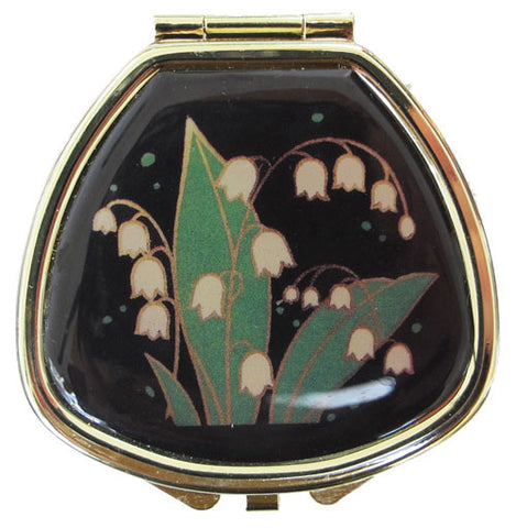 Vintage Inspired Pill Box with mirror - Lily of the Valley