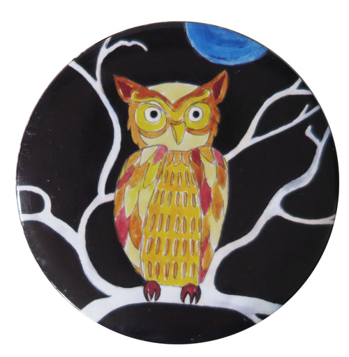Folk Owl Pocket Mirror