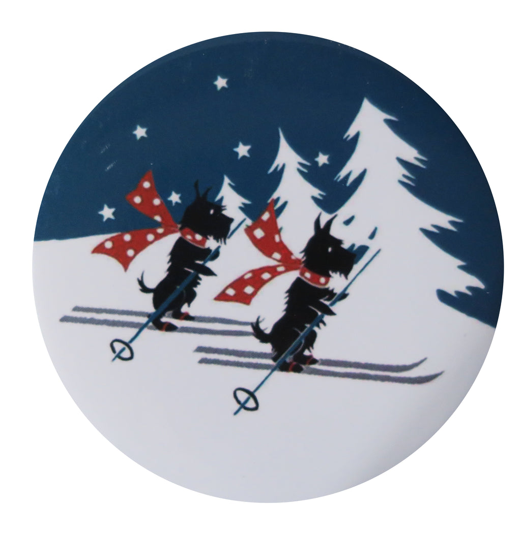 Skiing Scotties Pocket Mirror - Andrea Garland