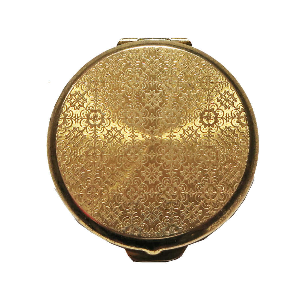 Vintage Stratton Pill Box with Lip Balm - Gold Brocade - Andrea Garland