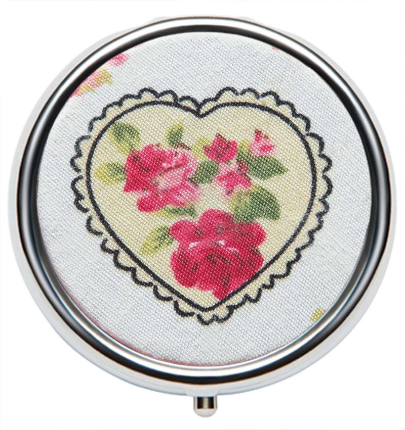 Lip Balm Ltd Edition Compact - Valentine Fabric Floral Heart - Andrea Garland