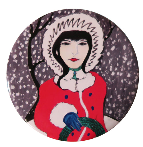 Folk Winter Pocket Mirror