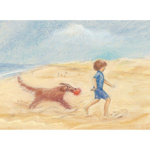 child and dog on the beach postcard