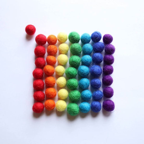 rainbow wool balls, pack of 56 (due back in stock ~early spring)