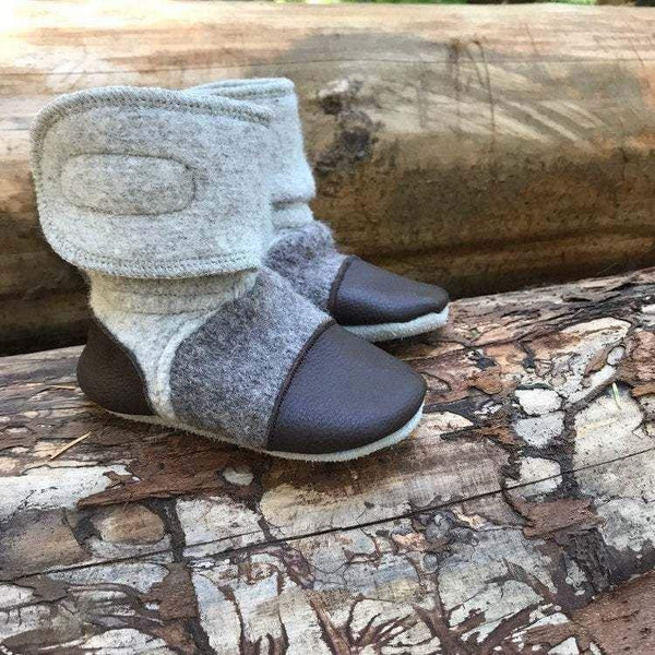 'Driftwood' leather & wool booties, 3-4 years