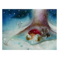 Dwarfs with Rabbit in Winter postcard by Franziska Sertori-Kopp