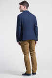 Windowpane Check 100% Wool Blazer in Navy