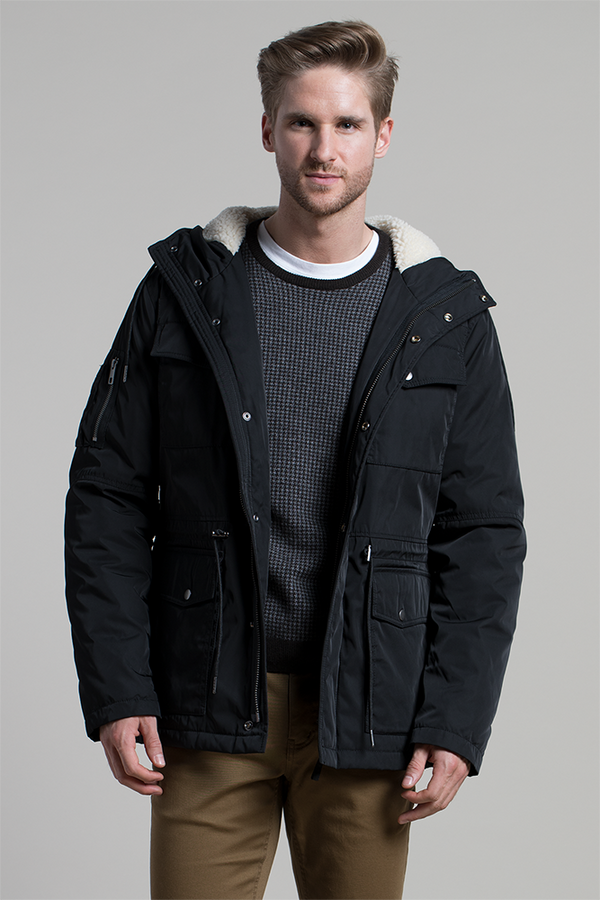 Water Resistant Parka Coat in Black