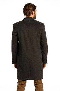 Newtonabbey Wool Overcoat in Charcoal Grey