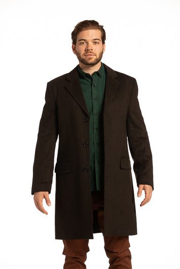 Newtownabbey Wool Overcoat in Herringbone Dark Brown