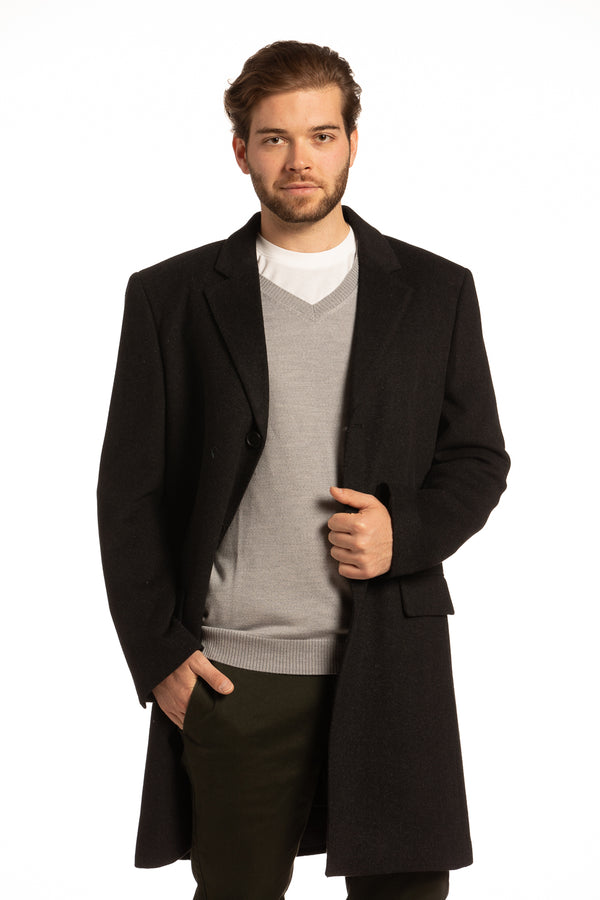 Newtownabbey Wool Overcoat in Herringbone Grey & Black