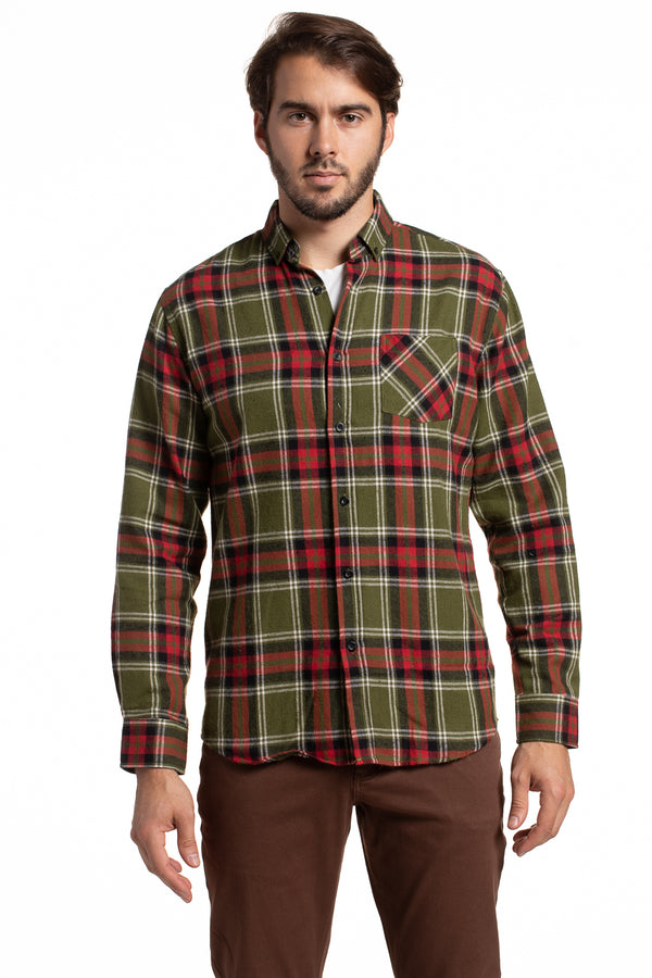 Classic Workwear Crumlin Tartan Shirt in Olive / Red