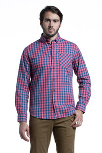 Gingham Check Gorteen Oxford in Pink / Navy