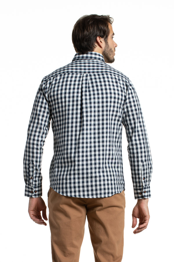 Gingham Check Gorteen Oxford in White / Navy