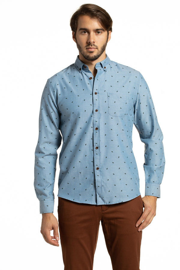 Easy Care Printed Kells Oxford Shirt in Slate Blue