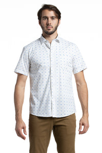 Printed Stretch Poplin Shirt with Bicycles in White