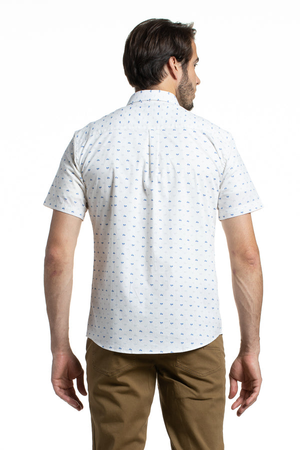 Printed Stretch Poplin in White with Bicycles