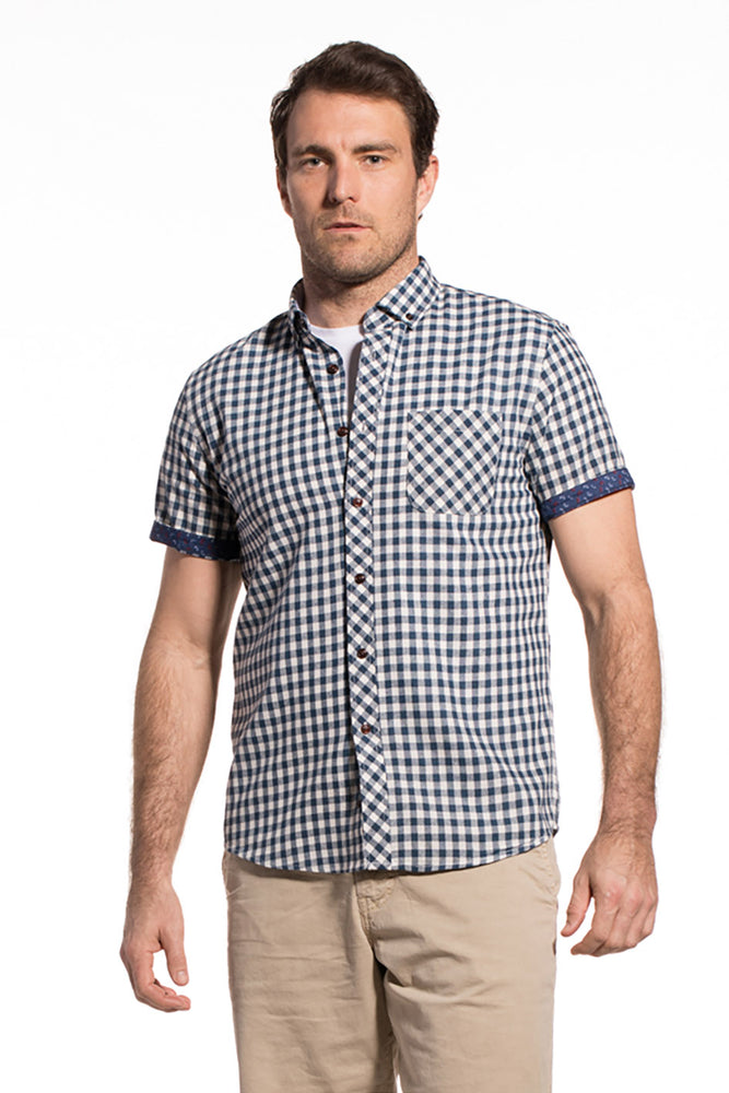 Gingham Checked Ballina Shirt in Navy / Ecru